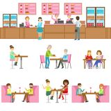 People In Sweet Bakery Cafe Set Of Illustrations Royalty Free Stock Photo
