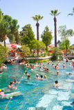 People swim in Cleopatra pools near Pamukkale, Turkey Royalty Free Stock Photography
