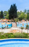 People swim in pool of hotel Flamingo Grand Hotel.  Albena, Bulgaria Stock Photo