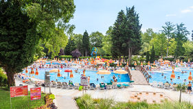 People swim in pool of hotel Flamingo Grand Hotel.  Albena, Bulgaria Royalty Free Stock Images