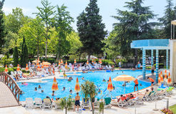 People swim in pool of hotel Flamingo Grand Hotel.  Albena, Bulgaria Royalty Free Stock Image