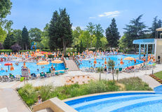 People swim in pool of hotel Flamingo Grand Hotel.  Albena, Bulgaria Stock Photos
