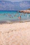 People swim in the sea. Cleopatra's Beach on the island of Sedir. Turkey. Blurred Stock Image