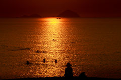 people swim in sea among sun reflection at sunrise Stock Images