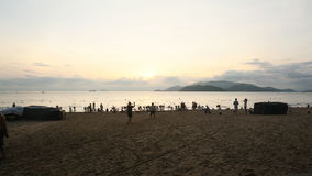 People swiming on Nha Trang beach in the morning, Vietnam. stock footage
