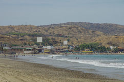 People swiming in Pacific ocean in Mancora surfer's beach in Per Royalty Free Stock Images