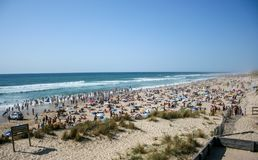People swiming and relaxing on the Beach lacanau-ocean Stock Image