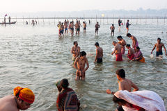 People swimming in cold water. Indian people swim in cold water in the confluence of the river Ganges and the Yamuna during the biggest festival in the world Royalty Free Stock Image