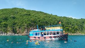 People swimming at a day trip boat close to Nha Trang, Vietnam Stock Image