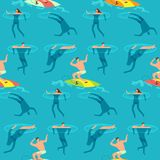 People swimming and diving ocean. Summer time on beach exotic vintage seamless vector pattern. People swim in ocean, diving and surf board illustration vector illustration