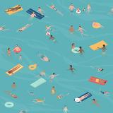 People swimming and diving in the sea Stock Photography