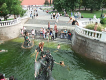 People swimming in a fountain, Alexander Gardens, Moscow, Russia Royalty Free Stock Images