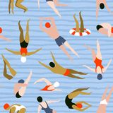 People swimming pattern. Summer seamless background. Summertime vector illustration with swimmers. People swimming pattern. Summer seamless background Royalty Free Stock Photo