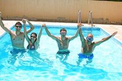 People in swimming pool. People having fun in  swimming pool Stock Image
