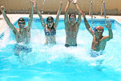 People in swimming pool. People having fun in  swimming pool Royalty Free Stock Images