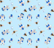 People swimming in pool pattern Vector Illustration