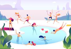 People at swimming pool. Persons swim dive in summer pool relaxing sunbathing family women men water games summer party vector illustration