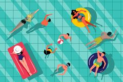 People swimming in swimming pool, top view illustration. Vector summer hand drawn water background vector illustration