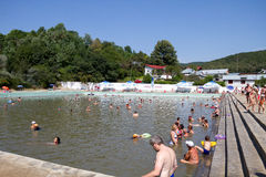 People swimming in public pool Royalty Free Stock Photo