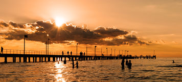 People swimming at sunset Royalty Free Stock Photos