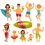 People in swimsuits on summer holidays colorful collection Royalty Free Stock Images