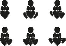 People symbols. Set of symbols of people and hearts Royalty Free Stock Photo