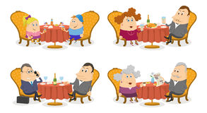 People at the Tables Set Isolated Royalty Free Stock Photo