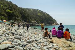 People at the Taejongdae Pebble Beach in Busan Royalty Free Stock Photo