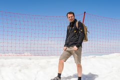 People on the Tahtali mountain. TAHTALI, TURKEY - APR 20, 2015: Unidentified tourist in a Jack Wolfskin jacket on the top of the Tahtali mountain. Tahtali Stock Images