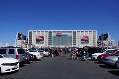 People tailgate in parking lot before the start of the show Stock Image