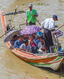 People take the boat to cross the Yangon River, Myanmar Royalty Free Stock Image