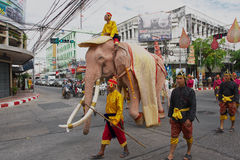 People take part in the famous Elephant parade in Surin, Thailand. Royalty Free Stock Photo