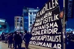 People take part in massive anti-government protest in Taksim square in Istanbul, Turkey stock photography