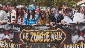 People take part in the Zombie Walk in Milan, Italy Stock Images