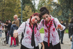People take part in the Zombie Walk in Milan, Italy Stock Photos