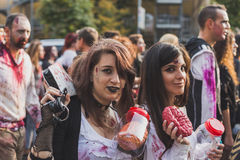 People take part in the Zombie Walk 2015 in Milan, Italy Stock Photo