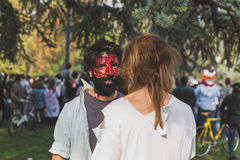 People take part in the Zombie Walk 2015 in Milan, Italy stock photography