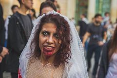 People take part in the Zombie Walk 2015 in Milan, Italy Royalty Free Stock Images