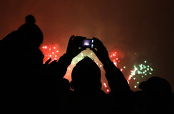 People take a pictures of fireworks Stock Photography