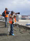 People take pictures of planes at the airport. Sheremetyevo Royalty Free Stock Image