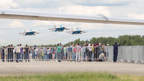 People take pictures of the Su-27 Stock Photos