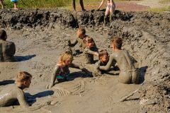 People take procedures with healing mud. Russia royalty free stock images