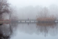 People take a stroll in the forest in misty foggy weather, walking on a wooden bridge over a pond Royalty Free Stock Photography