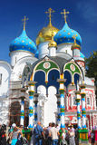 People take water from the holy source in Trinity Sergius Lavra Royalty Free Stock Images