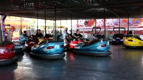 People taking bumper car at the West Coast Amusements Carnival stock footage