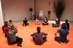 People taking a class of body awareness at Olis Festival in Milan, Italy Royalty Free Stock Images