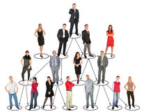 People taking diverse positions and levels stock image