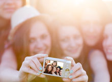 People Taking Group Photo Stock Images