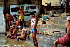 People taking the morning ritual bath in Varanasi Royalty Free Stock Photography