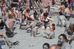 People are taking a mud bath. Mud baths are great for the skin. Dalyan, Turkey Stock Image